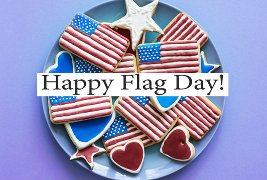 Homemade cookies in the shape of the American flag -  Happy flag day USA