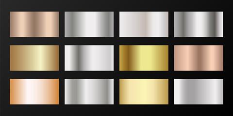 Silver, platinum, bronze, pink gold vector metallic gradients.