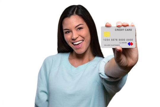 Excited hopeful optimistic happy business owner entrepreneur showing  credit card excitedly
