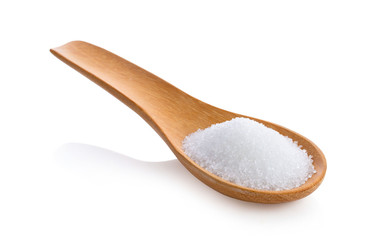 sugar in wooden spoon on white background Wall mural
