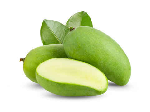 green mango isolated on white background. full depth of field
