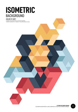 Abstract isometric geometric shape layout poster design template background