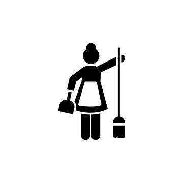 Cleaning, woman, maid, human icon. Element of hotel pictogram icon. Premium quality graphic design icon. Signs and symbols collection icon