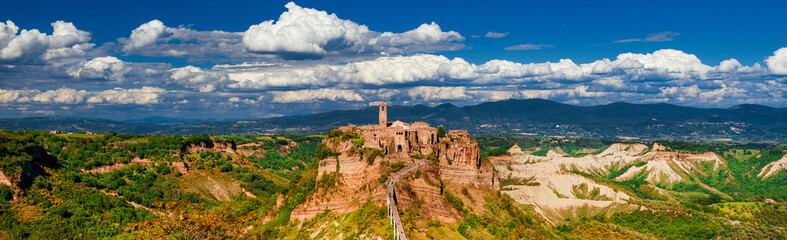 """Civita di Bagnoregio """"the town that is dying"""" surrounded by nature, a beautiful and small medieval city near Rome"""