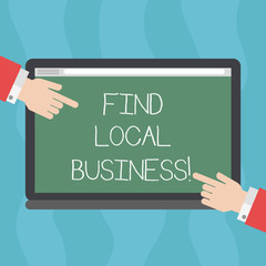 Conceptual hand writing showing Find Local Business. Business photo text company that provides goods services to near population Hu analysis Hands Pointing on a Blank Color Tablet Screen