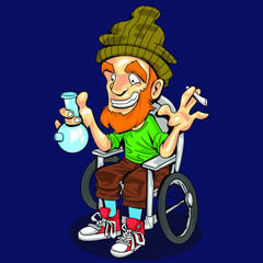 cartoon old hippie man holding a marijuana and bong cigarette