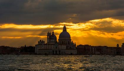 Beautiful sunset over Venice Lagoon and Saint Mary of the Health Basilica