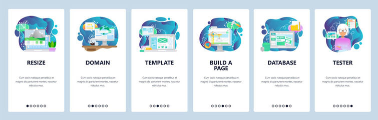 Mobile app onboarding screens. Image resize, www domain internet, template, database. Menu vector banner template for website and mobile development. Web site design flat illustration
