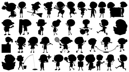Set of silhouette kids character