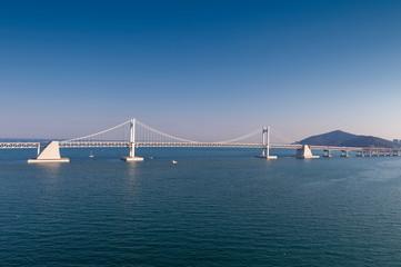 Scenic view of Busan Gwangandaegyo Bridge (Diamond Bridge), a suspension bridge connecting Haeundae-gu to Suyeong-gu in Busan, South Korea