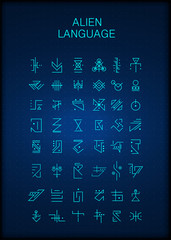 Alien hieroglyphs symbols, unknown alphabit. Futuristic hieroglyphs. Digital alien matrix technology programming language alphabet. Cyberspace. Quantum computers. Hacker concept.  Vector