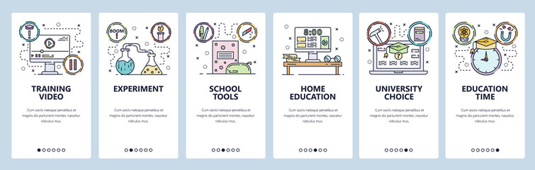 Mobile app onboarding screens. School education, online tutorial video, home education, lab experiment. Menu vector banner template for website and mobile development. Web site design illustration