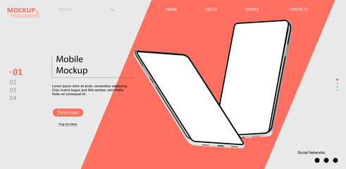 Webpage template with mobile phones with isometric position. 3d realistic phones in perspective. UI/UX/KIT design. Template for advertising or page to the site, marketing, presentation. Vector