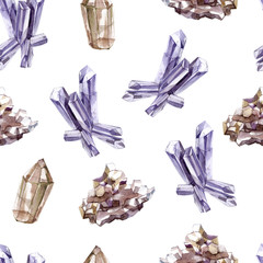 Watercolor seamless pattern with transparent shiny crystals. Precious Minerals, Geology