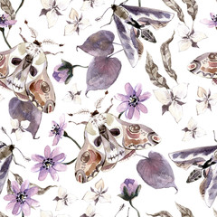 Watercolor seamless pattern with moths and flowers. Dark mystical colors