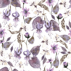 Watercolor seamless pattern with flowers. Dark mystical colors