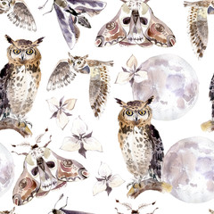 Watercolor seamless pattern with moths, owls, moon and flowers. Dark mystical colors