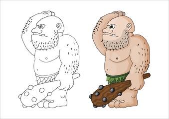 Vector cartoon clip art illustration of a tough mean muscular ogre or giant
