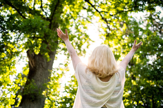 Senior scandinavian woman by the tree holding hands up. Back view