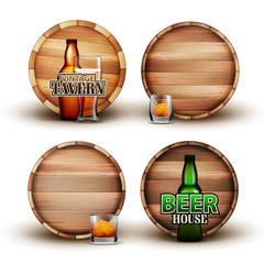 Wooden Barrel With Bottle And Glass Set Vector. Collection Of Different Element Brown Barrel, Color Flask And Cap With Alcoholic Drink For Advertising Poster. Front View Realistic 3d Illustration
