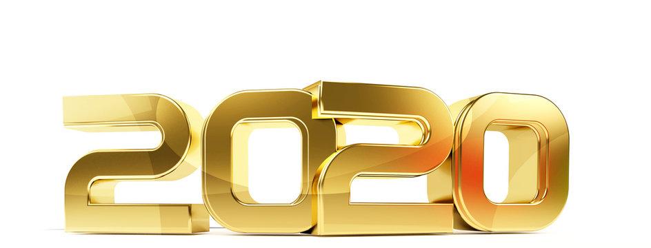 2020 bold letters symbol 3d-illustration