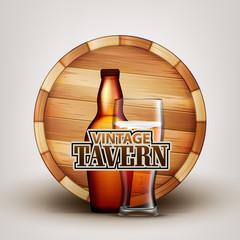 Bottle And Glass Of Beer With Wooden Barrel Vector. Brown Flask And Cup With Bubble Alcoholic Beverage And Retro Barrel On Background Depicted On Vintage Tavern Banner. Realistic 3d Illustration