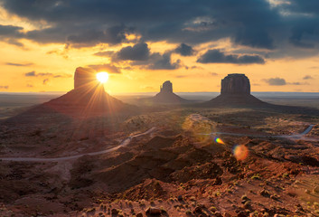 Spectacular sunrise at Monument Valley, Arizona - Utah, USA.