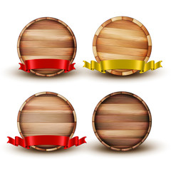 Blank Brown Wooden Barrel For Alcohol Set Vector. Collection Of Barrel For Beer And Lager, Wine And Whiskey, Scotch And Cognac Decorated Red And Yellow Ribbon. Front View Realistic 3d Illustration