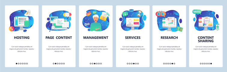 Mobile app onboarding screens. Hosting technology, content, market research, computer online services. Menu vector banner template for website and mobile development. Web site design flat illustration
