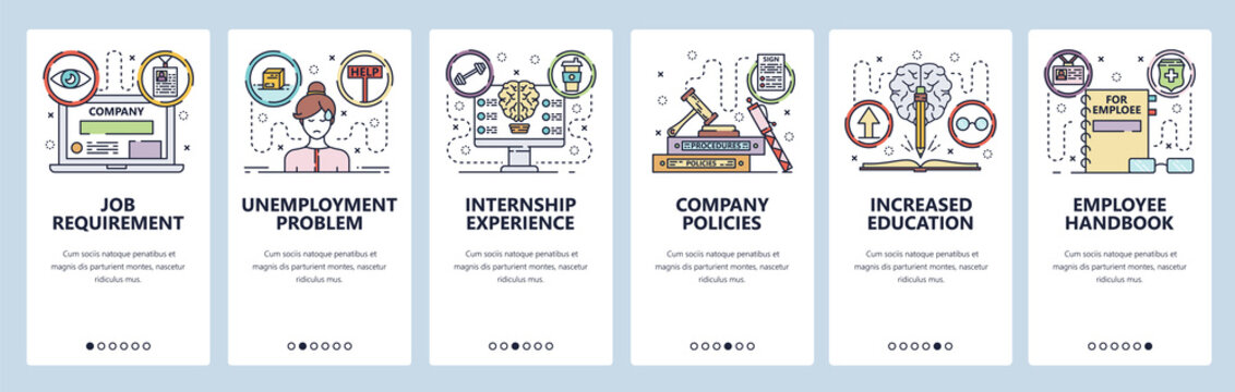 Mobile app onboarding screens. Education and job search, internship, employee and corporate culture. Menu vector banner template for website and mobile development. Web site design flat illustration
