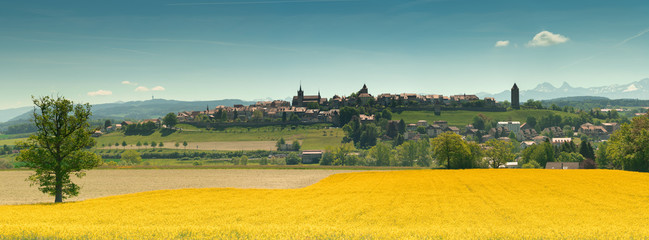 Foto op Textielframe Meloen panorama view of the village of Romont in Switzerland with the Alps in the background