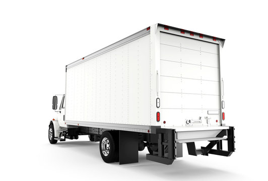 Back white truck isolated on a white background