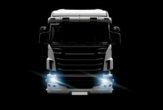 Big white truck in the dark
