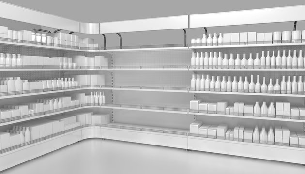 Store shelves with empty department for your goods. 3d illustration