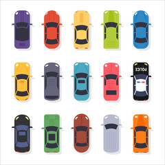 cars top view. flat design style minimal vector illustration