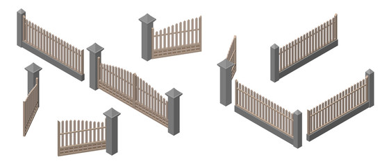 Set of fences and gates. Isolated on white background. 3d Vector illustration.