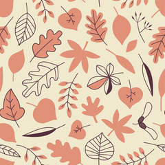 Autumn Forest Leaves seamless vector pattern. Woody tree leafy repeatable background. Woodland childish print in Scandinavian decorative style. Cute forest print for children fashion fabric.