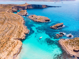 Obraz Panorama beach Blue Lagoon Comino Malta. Aerial view - fototapety do salonu