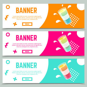Set of abstract web banner templates in memphis style with fresh jelly cocktail shot.