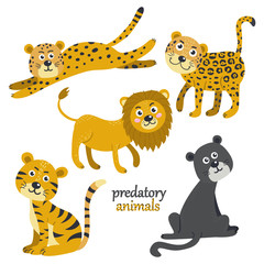 Vector set of predatory animals.