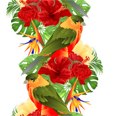 Foto op Canvas Papegaai Border seamless background tropical bird cute small funny bird and red hibiscus and Strelitzia reginae monstera palm watercolor style on a white background vintage vector illustration editable