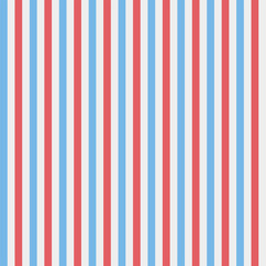 Red, blue and white vertical stripes, seamless pattern. Vector illustration.
