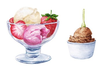 Hand drawn watercolor ice cream in glass, with strawberry, isolated on white background. Yummy summer food illustration.
