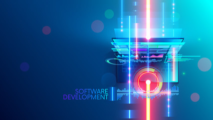 Software development conceptual abstract banner, background. Creating computer program, code on laptop. Design interface of website or soft on screen device. Digital technology of internet business.