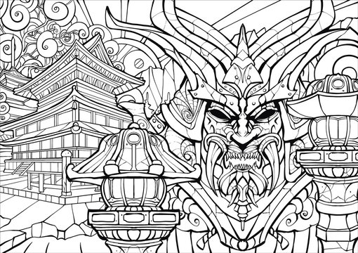 Coloring page for adults, sinister samurai mask.