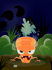 scary illustration of a cartoon carrot