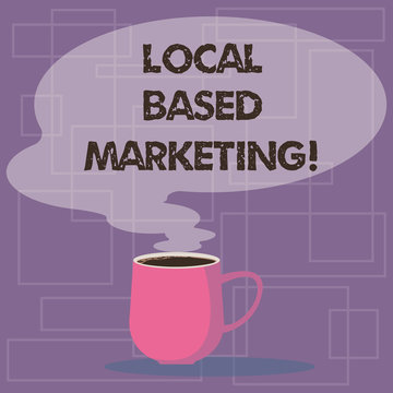 Writing note showing Local Based Marketing. Business photo showcasing marketing way that depends on the location of client Mug of Hot Coffee with Blank Color Speech Bubble Steam icon
