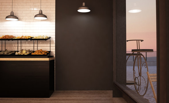black empty wall at bakery