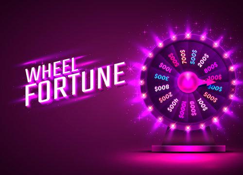Casino neon colorful fortune wheel. purple background.