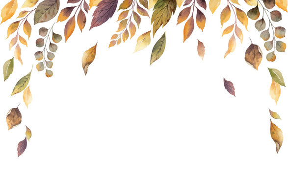 Watercolor vector autumn card with fallen leaves isolated on white background.